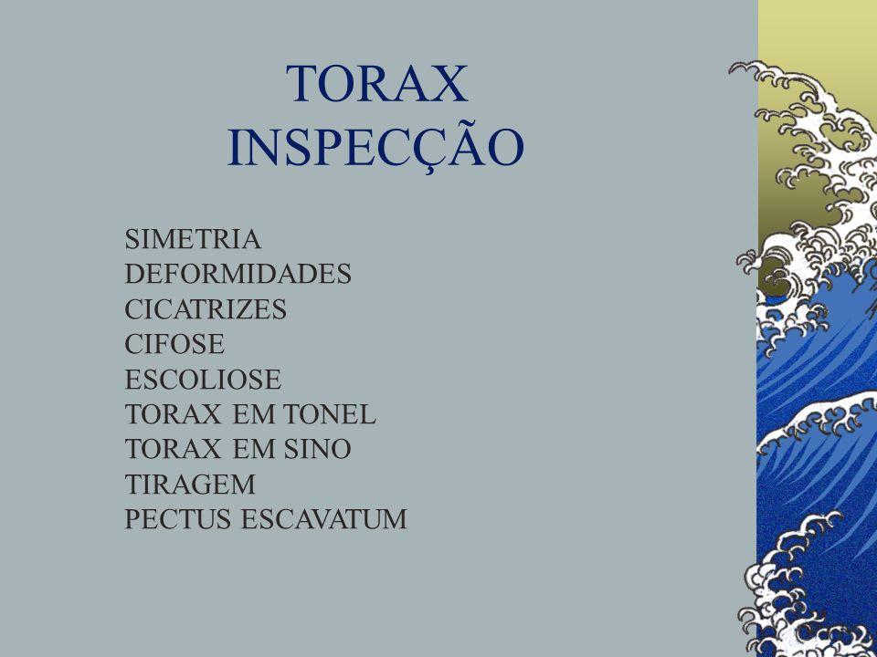 TORAX INSPECÇÃO SIMETRIA DEFORMIDADES CICATRIZES CIFOSE ESCOLIOSE