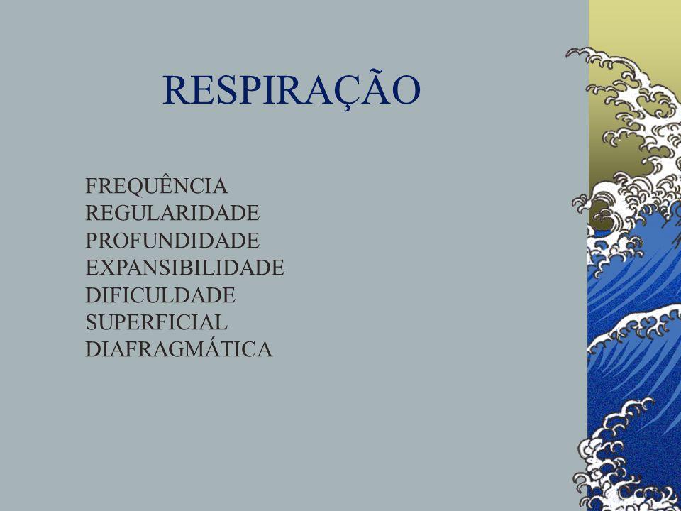 RESPIRAÇÃO FREQUÊNCIA REGULARIDADE PROFUNDIDADE EXPANSIBILIDADE
