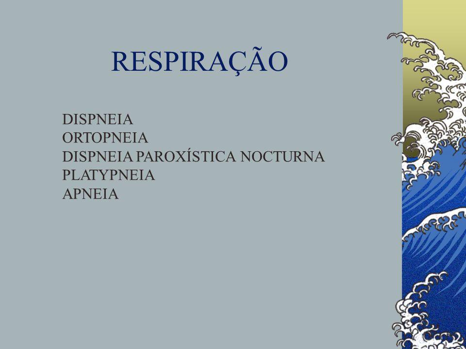 RESPIRAÇÃO DISPNEIA ORTOPNEIA DISPNEIA PAROXÍSTICA NOCTURNA PLATYPNEIA
