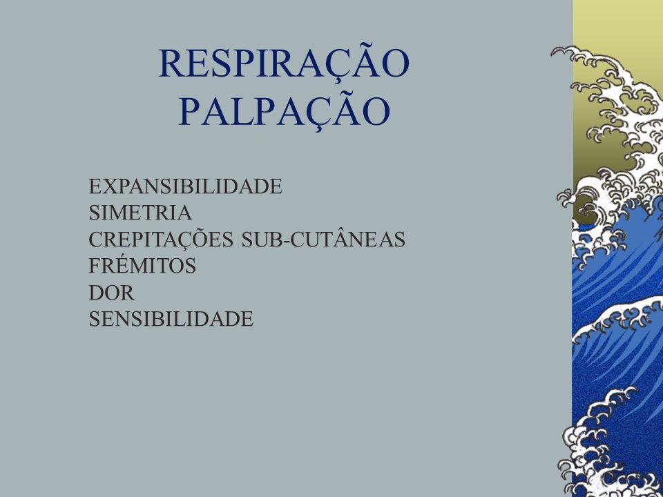 RESPIRAÇÃO PALPAÇÃO EXPANSIBILIDADE SIMETRIA CREPITAÇÕES SUB-CUTÂNEAS