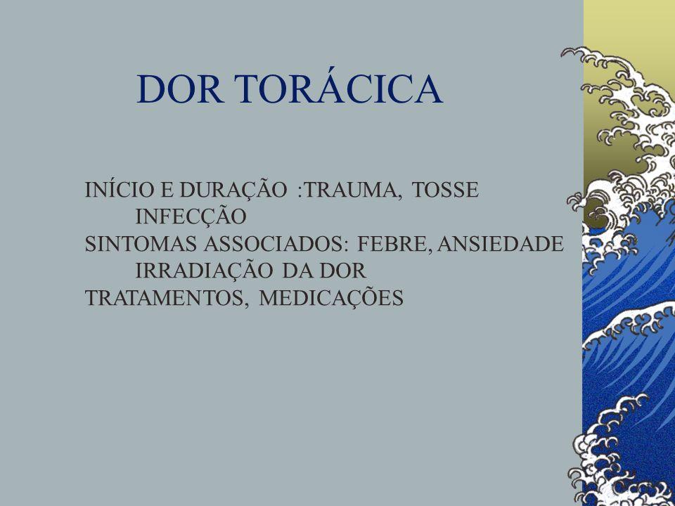 DOR TORÁCICA INÍCIO E DURAÇÃO :TRAUMA, TOSSE INFECÇÃO