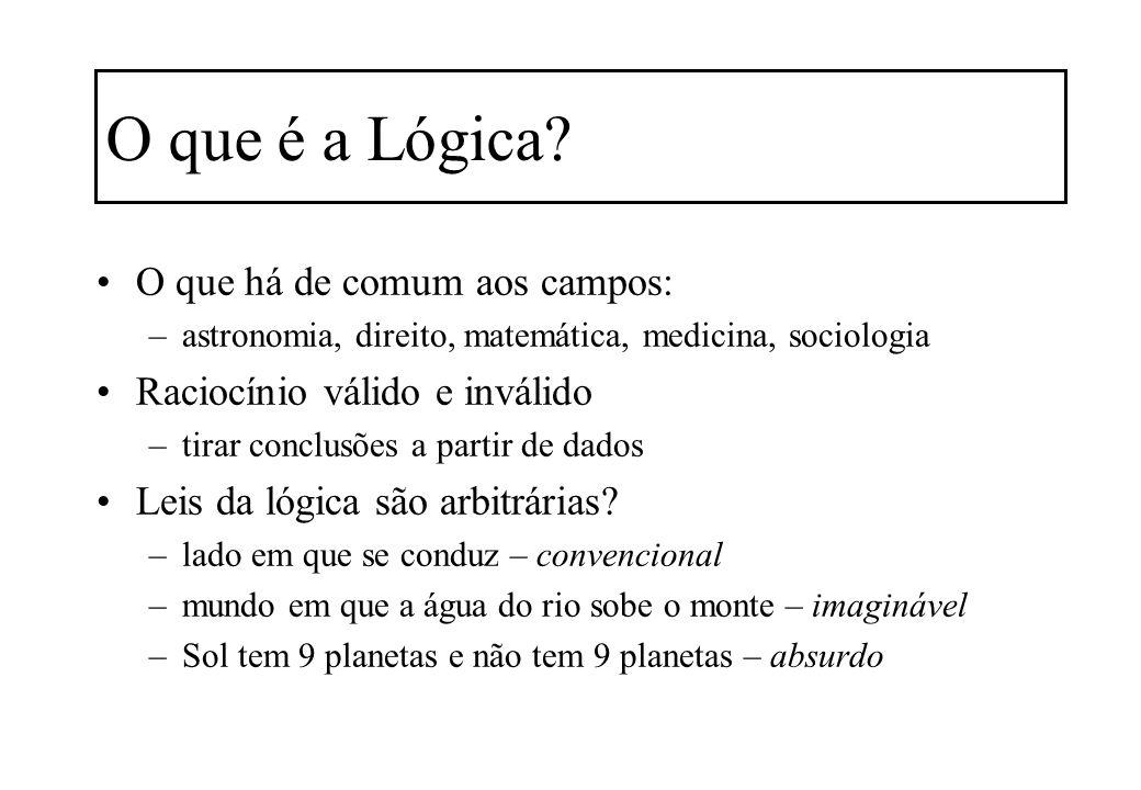 O que é a Lógica O que há de comum aos campos:
