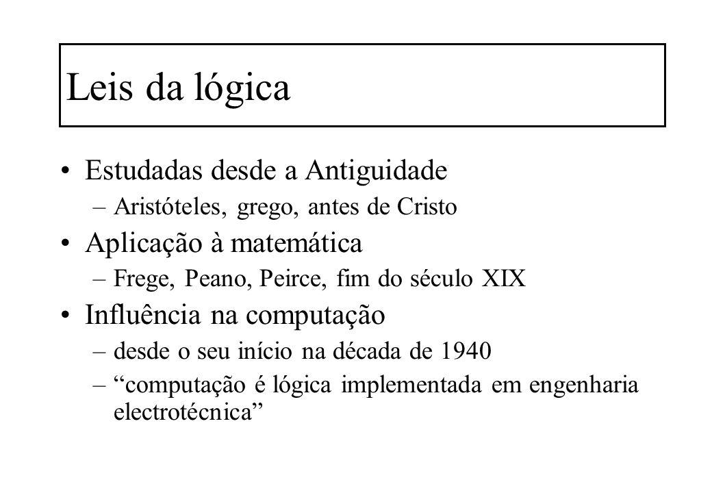 Leis da lógica Estudadas desde a Antiguidade Aplicação à matemática