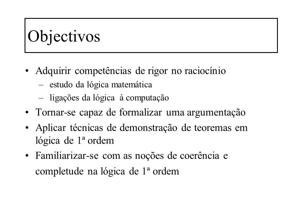 Objectivos Adquirir competências de rigor no raciocínio