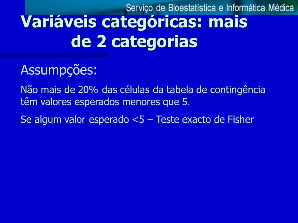 Variáveis categóricas: mais de 2 categorias