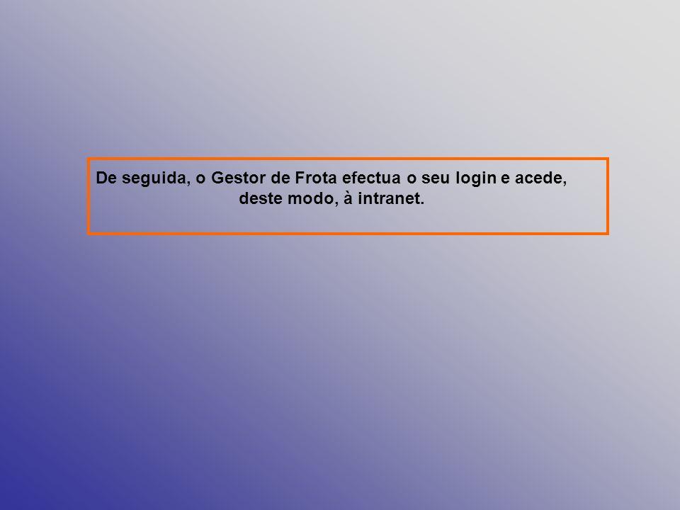 De seguida, o Gestor de Frota efectua o seu login e acede, deste modo, à intranet.