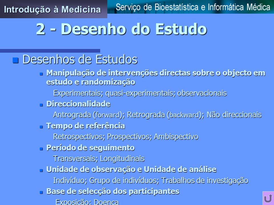 2 - Desenho do Estudo Desenhos de Estudos Introdução à Medicina