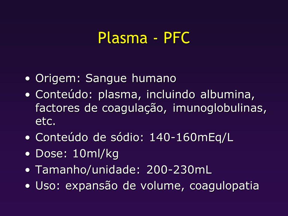 Plasma - PFC Origem: Sangue humano
