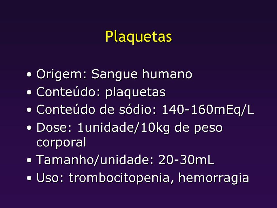 Plaquetas Origem: Sangue humano Conteúdo: plaquetas