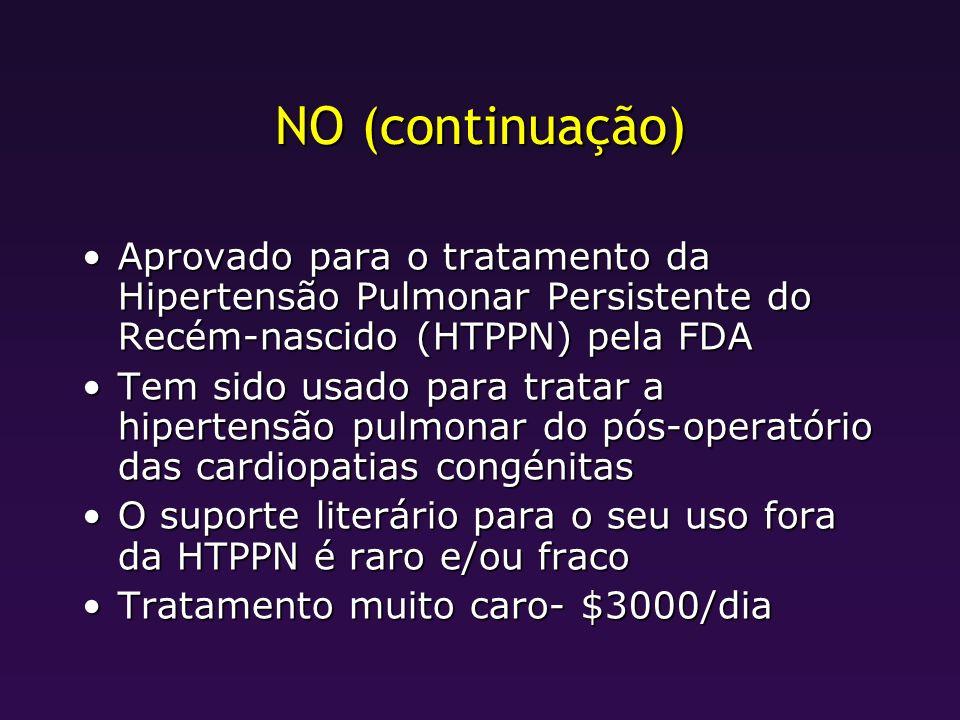 NO (continuação) Aprovado para o tratamento da Hipertensão Pulmonar Persistente do Recém-nascido (HTPPN) pela FDA.