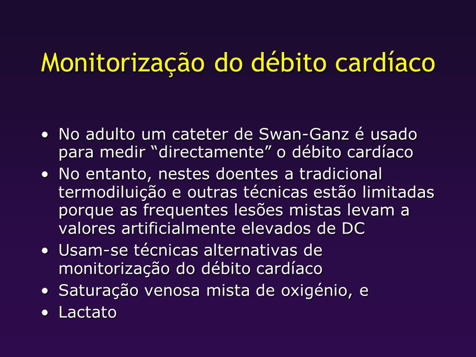 Monitorização do débito cardíaco