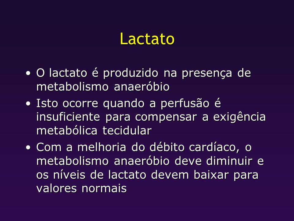 Lactato O lactato é produzido na presença de metabolismo anaeróbio