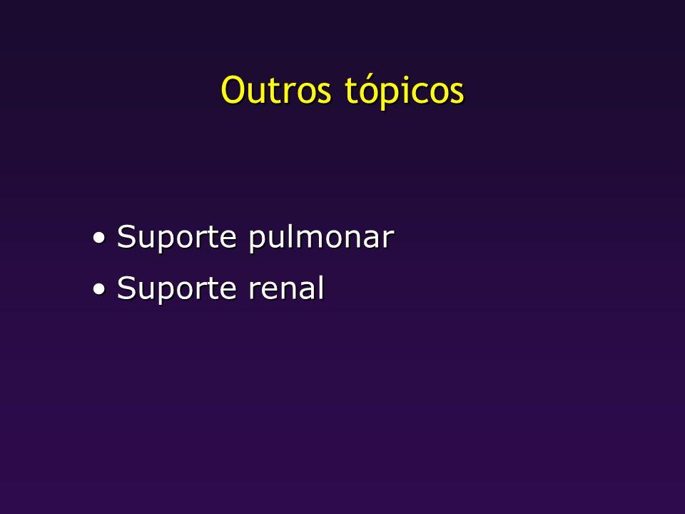 Outros tópicos Suporte pulmonar Suporte renal