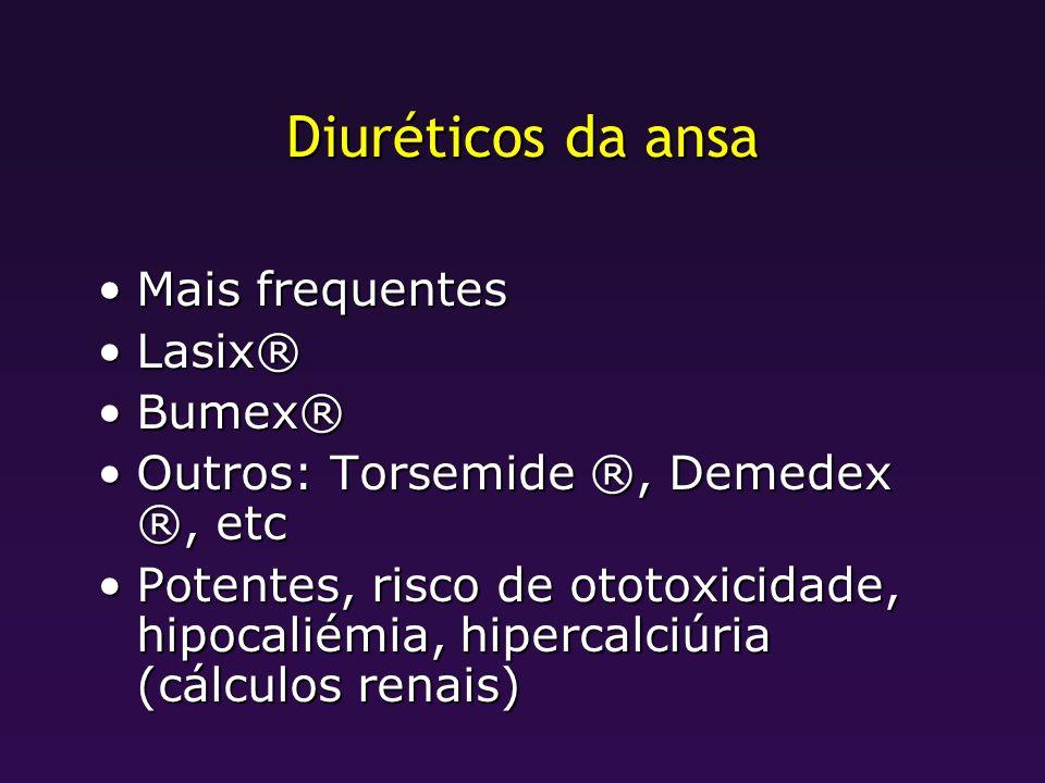 Diuréticos da ansa Mais frequentes Lasix® Bumex®