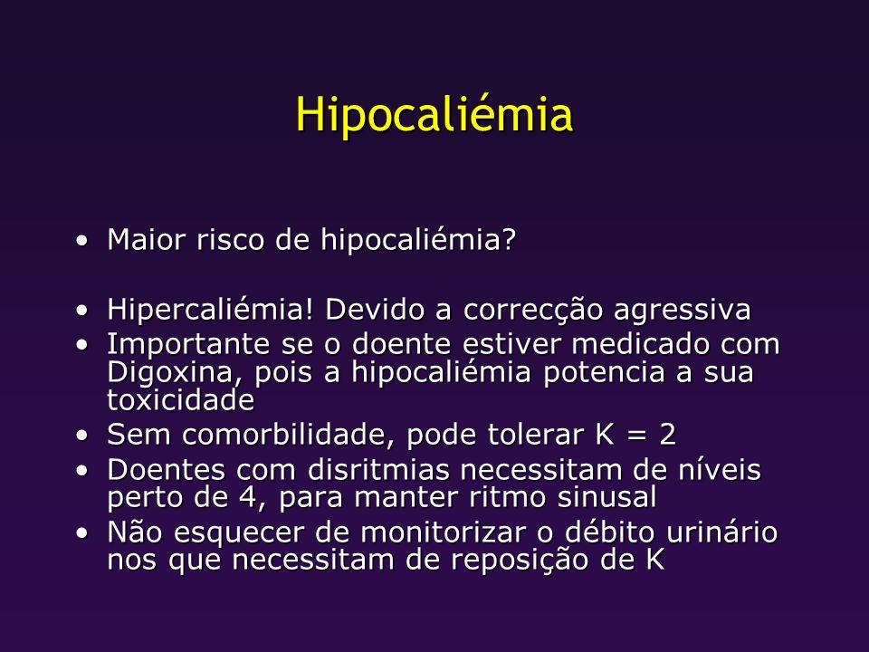 Hipocaliémia Maior risco de hipocaliémia
