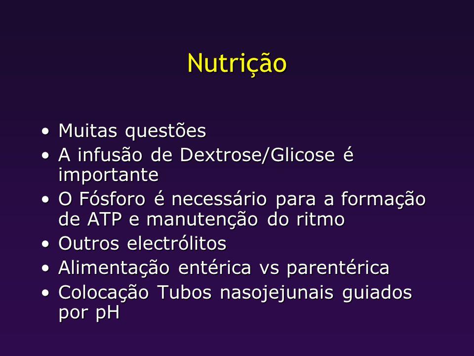 Nutrição Muitas questões A infusão de Dextrose/Glicose é importante