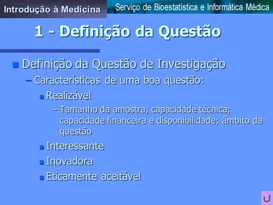 1 - Definição da Questão Definição da Questão de Investigação