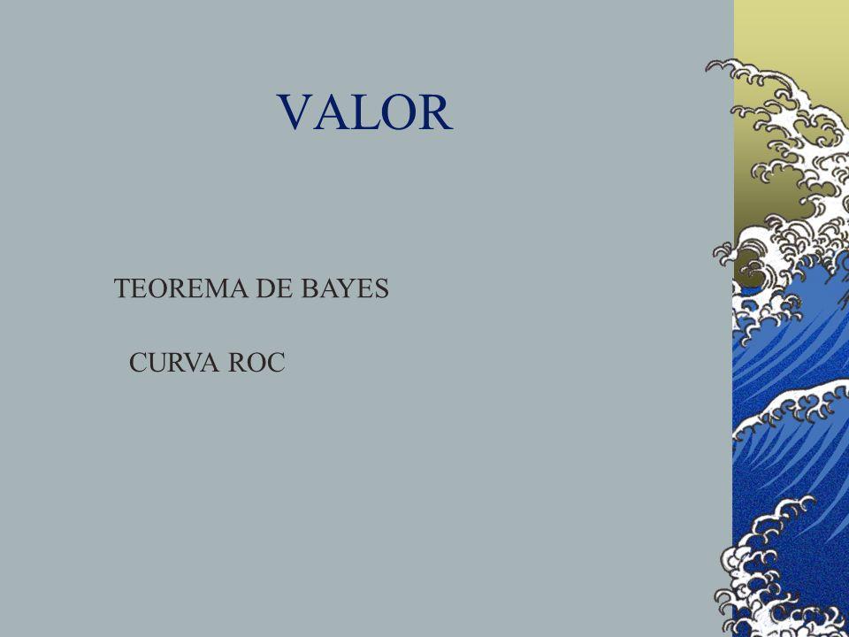 VALOR TEOREMA DE BAYES CURVA ROC