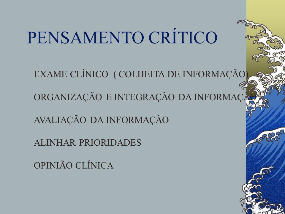 PENSAMENTO CRÍTICO EXAME CLÍNICO ( COLHEITA DE INFORMAÇÃO)