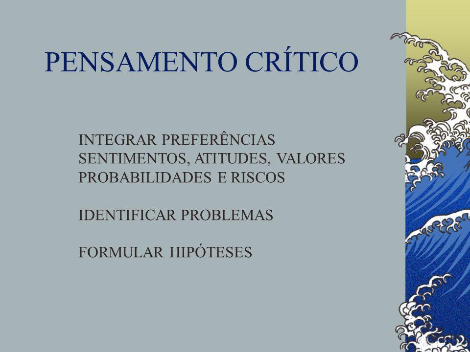 PENSAMENTO CRÍTICO INTEGRAR PREFERÊNCIAS