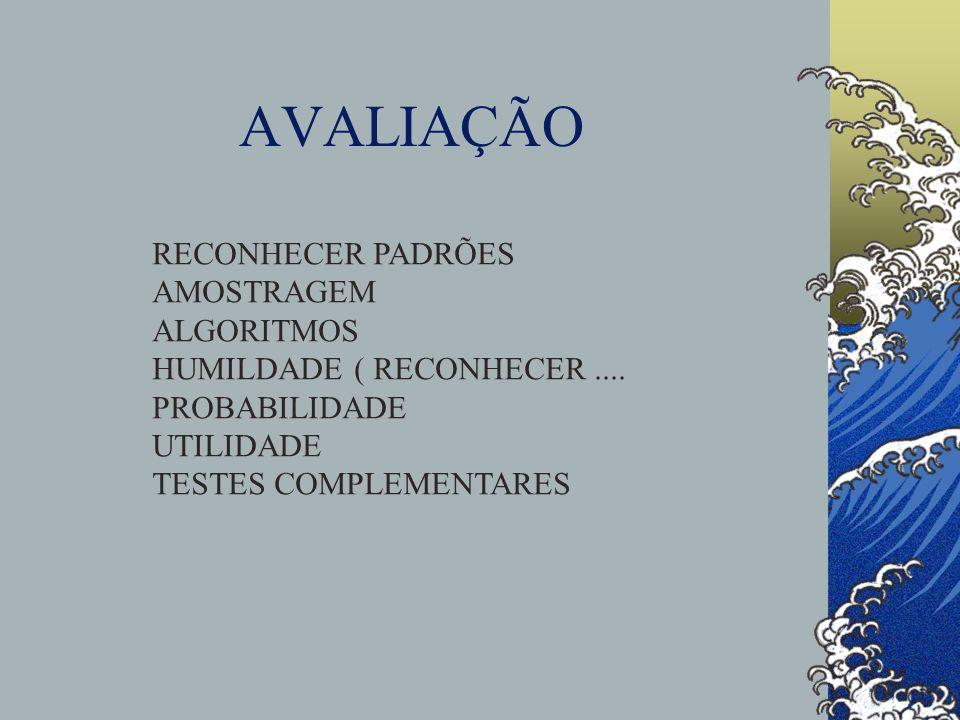 AVALIAÇÃO RECONHECER PADRÕES AMOSTRAGEM ALGORITMOS