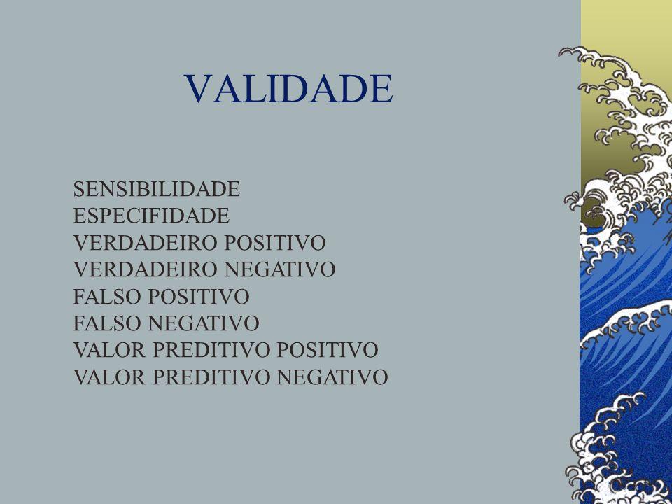 VALIDADE SENSIBILIDADE ESPECIFIDADE VERDADEIRO POSITIVO