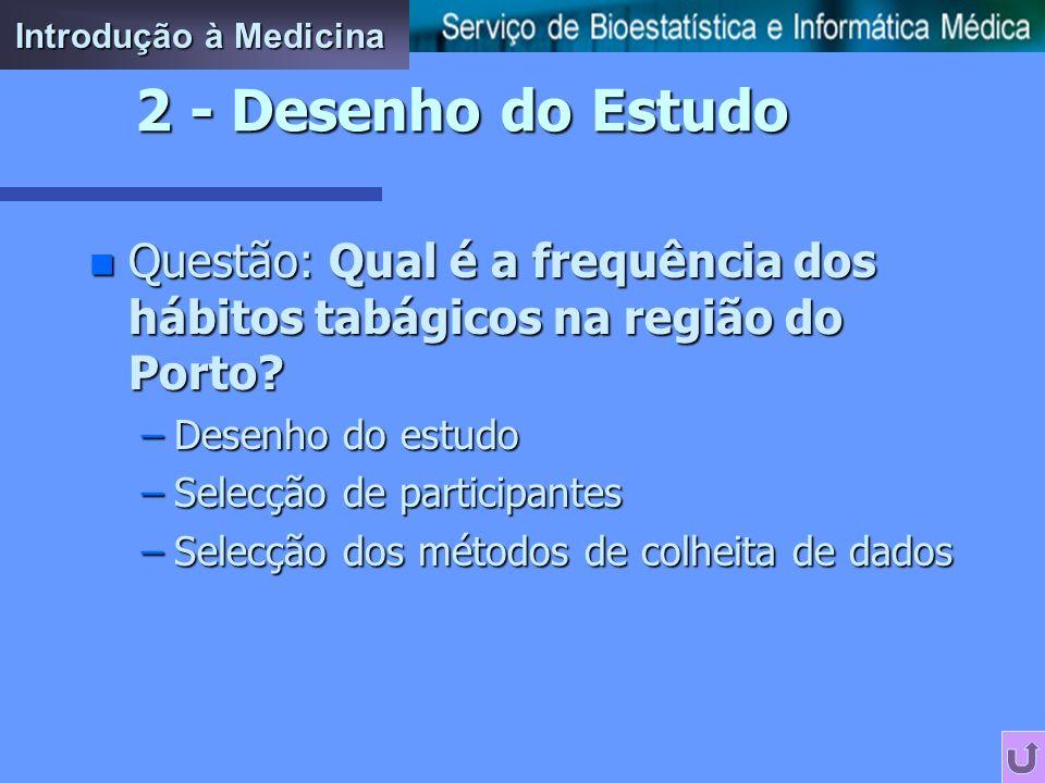 Introdução à Medicina 2 - Desenho do Estudo. Questão: Qual é a frequência dos hábitos tabágicos na região do Porto