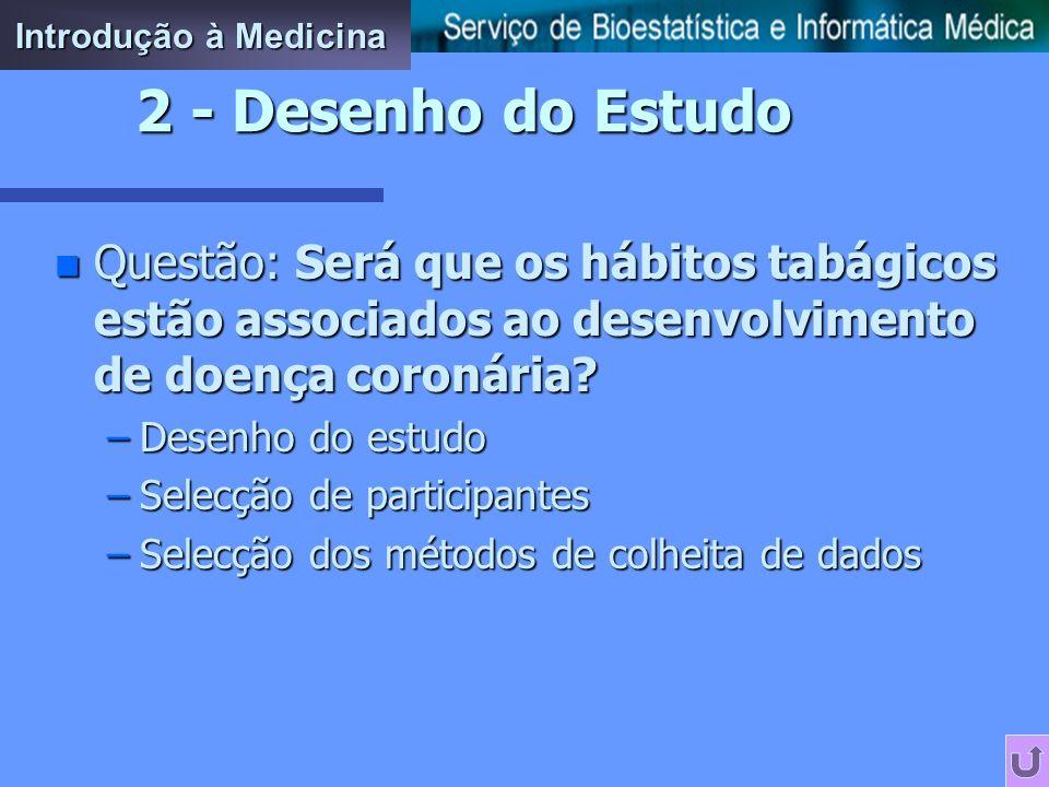 Introdução à Medicina 2 - Desenho do Estudo. Questão: Será que os hábitos tabágicos estão associados ao desenvolvimento de doença coronária