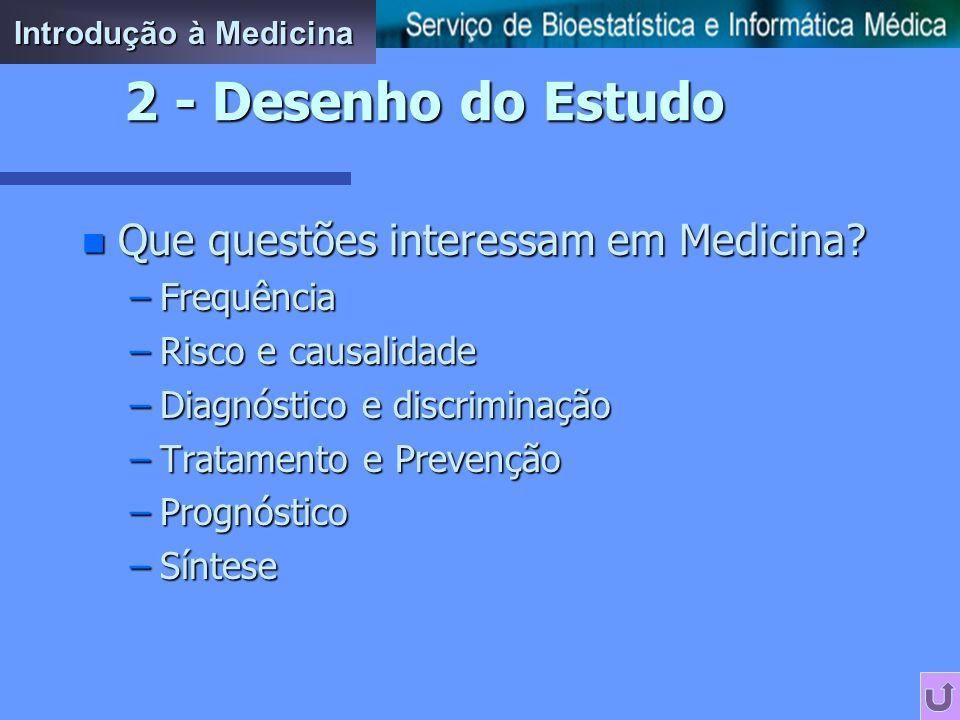 2 - Desenho do Estudo Que questões interessam em Medicina Frequência