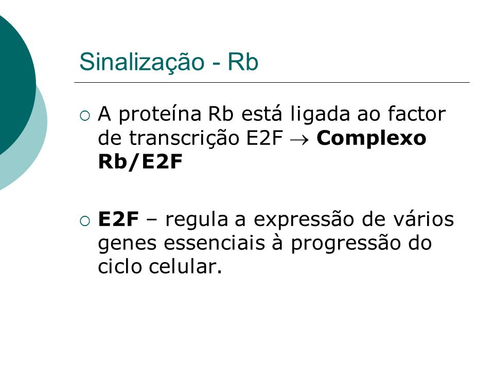 Sinalização - Rb A proteína Rb está ligada ao factor de transcrição E2F  Complexo Rb/E2F.