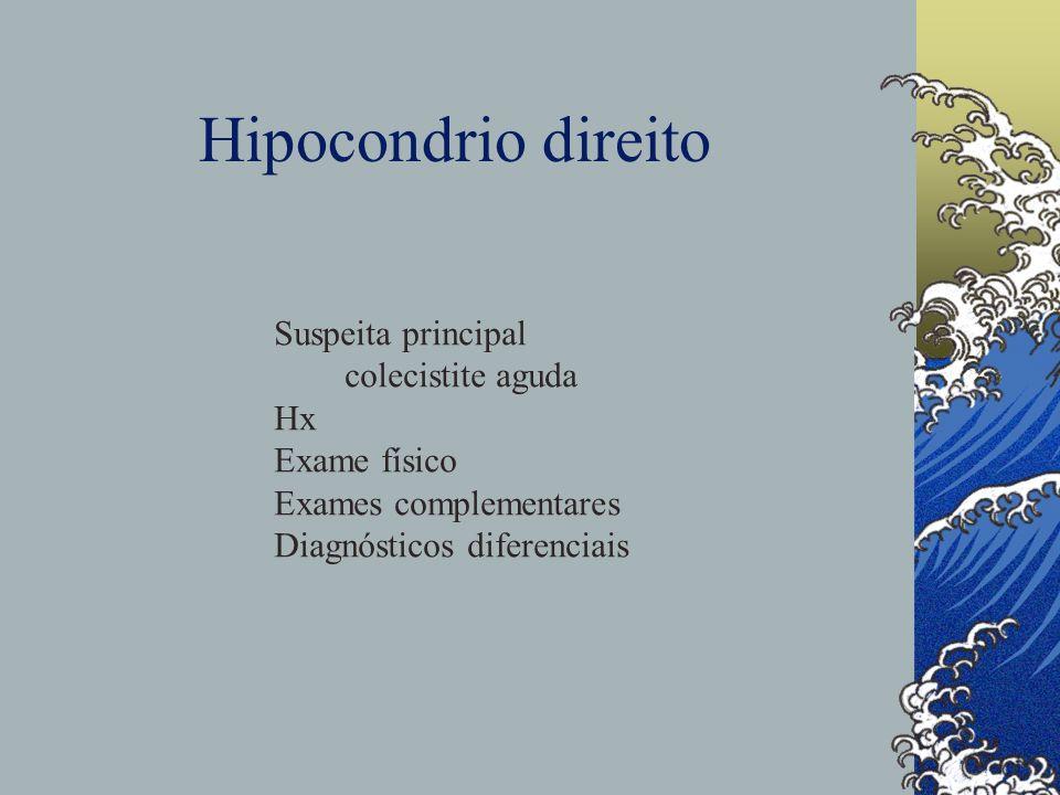 Hipocondrio direito Suspeita principal colecistite aguda Hx