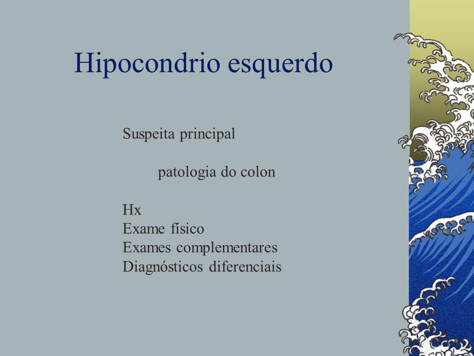 Hipocondrio esquerdo Suspeita principal patologia do colon Hx
