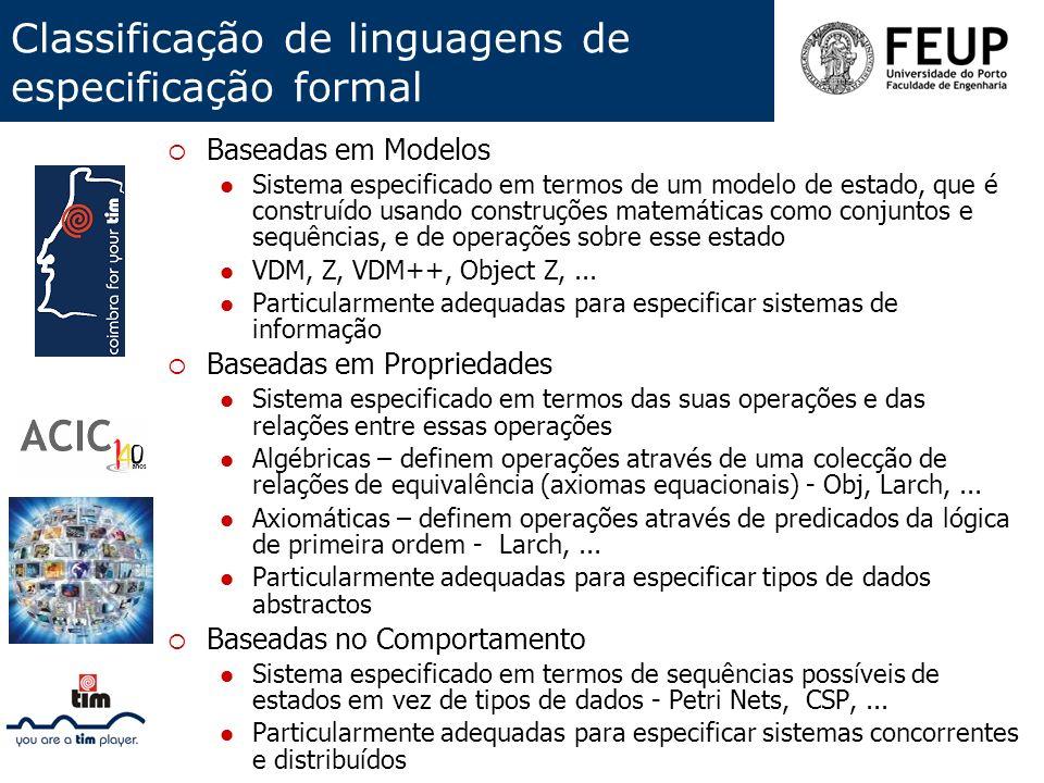 Classificação de linguagens de especificação formal