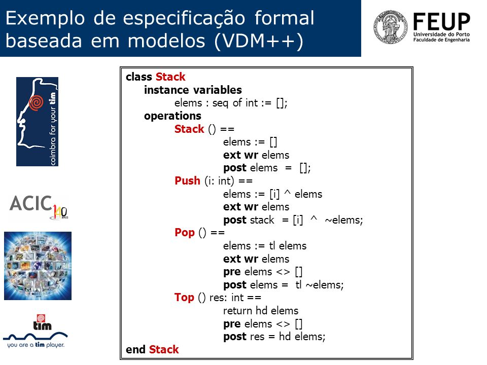 Exemplo de especificação formal baseada em modelos (VDM++)