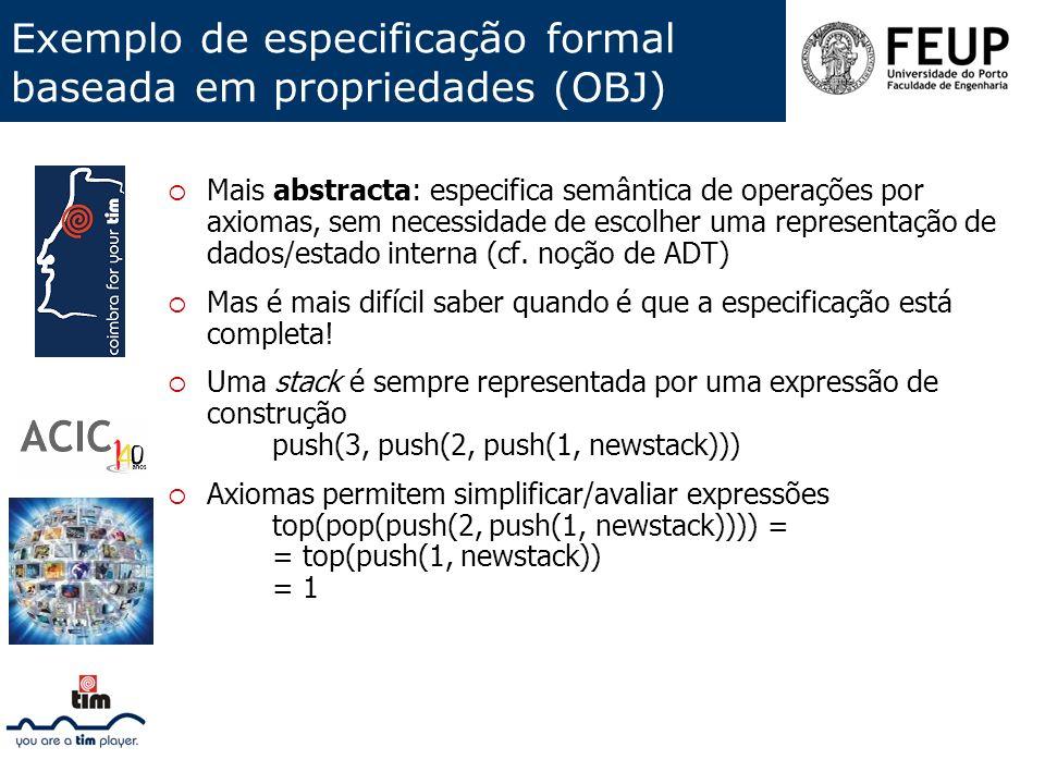 Exemplo de especificação formal baseada em propriedades (OBJ)