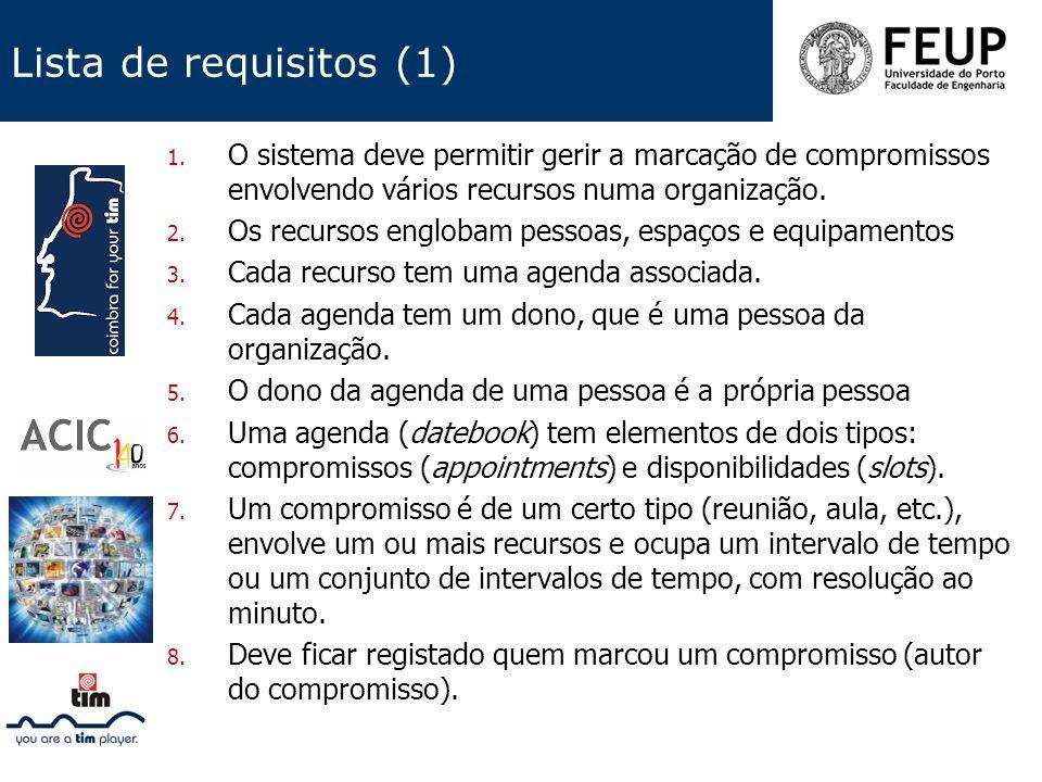 Lista de requisitos (1) O sistema deve permitir gerir a marcação de compromissos envolvendo vários recursos numa organização.