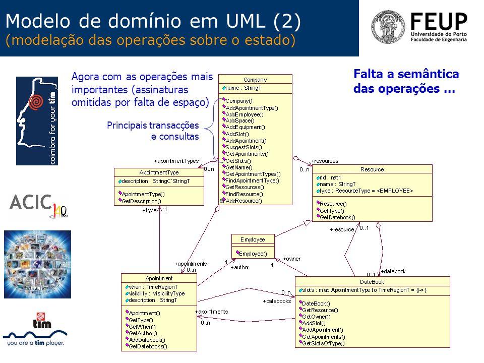Modelo de domínio em UML (2) (modelação das operações sobre o estado)