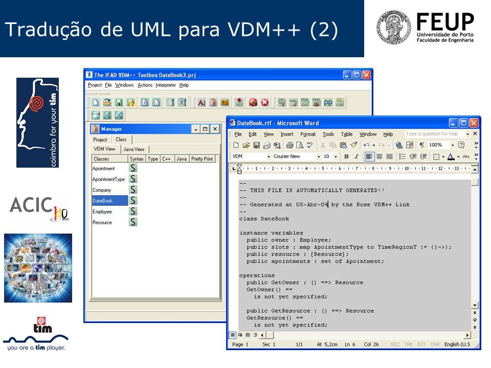 Tradução de UML para VDM++ (2)