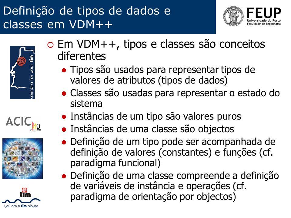 Definição de tipos de dados e classes em VDM++
