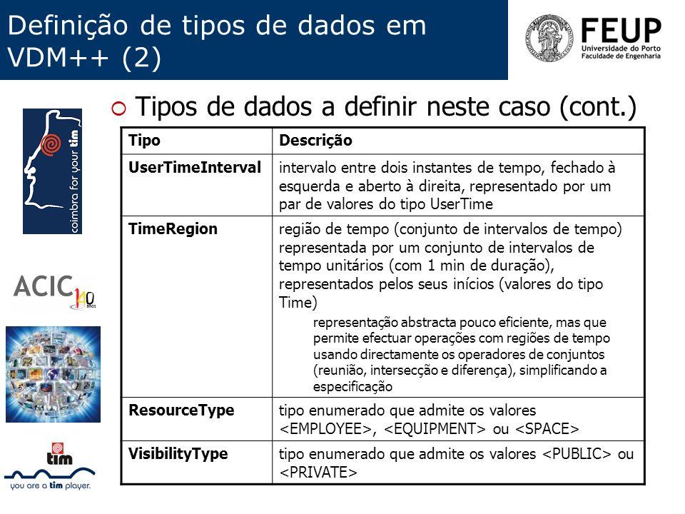 Definição de tipos de dados em VDM++ (2)