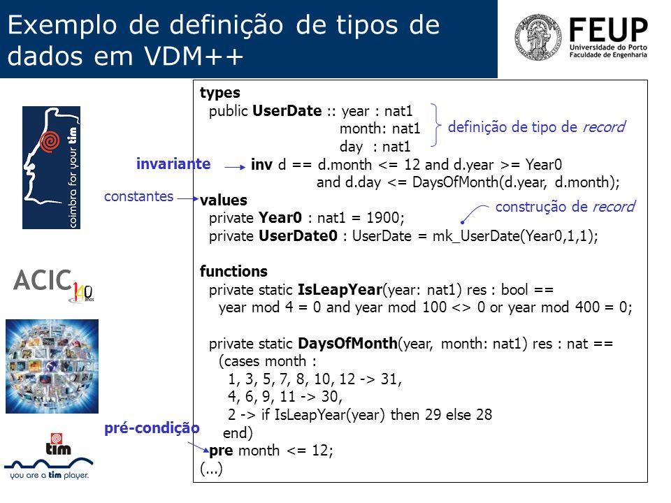 Exemplo de definição de tipos de dados em VDM++