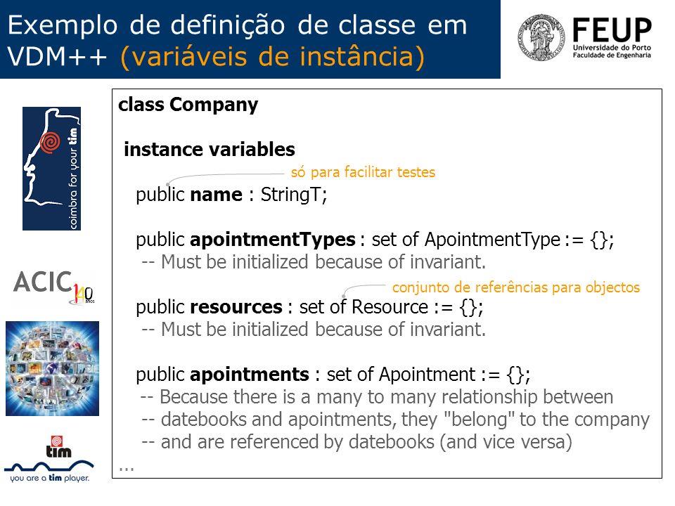 Exemplo de definição de classe em VDM++ (variáveis de instância)
