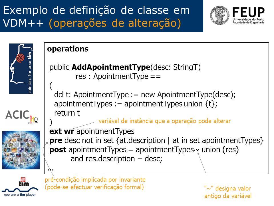 Exemplo de definição de classe em VDM++ (operações de alteração)