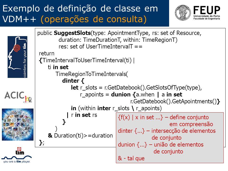 Exemplo de definição de classe em VDM++ (operações de consulta)