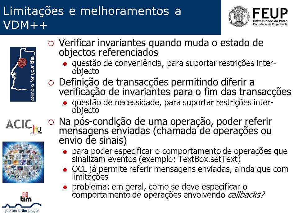 Limitações e melhoramentos a VDM++