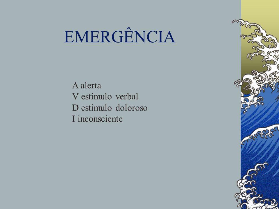 EMERGÊNCIA A alerta V estímulo verbal D estimulo doloroso