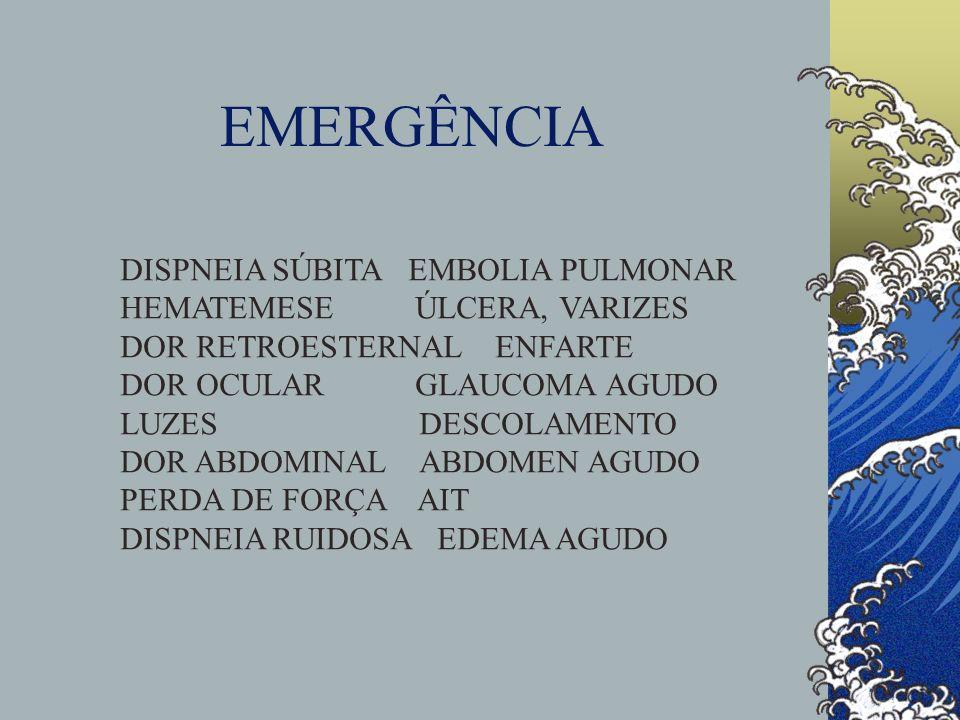 EMERGÊNCIA DISPNEIA SÚBITA EMBOLIA PULMONAR HEMATEMESE ÚLCERA, VARIZES