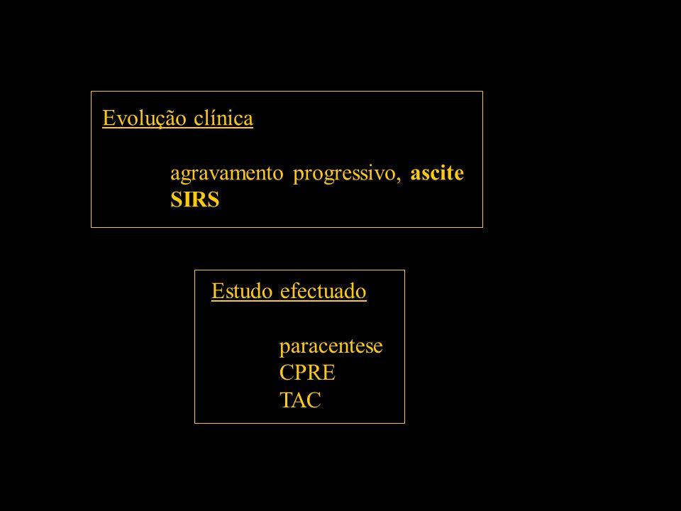Evolução clínica agravamento progressivo, ascite SIRS Estudo efectuado paracentese CPRE TAC