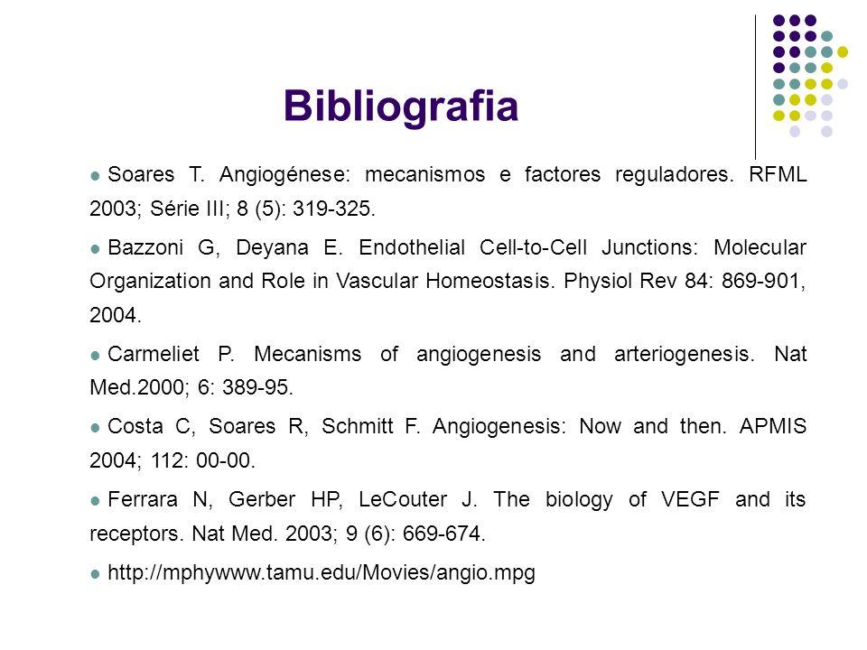 Bibliografia Soares T. Angiogénese: mecanismos e factores reguladores. RFML 2003; Série III; 8 (5): 319-325.