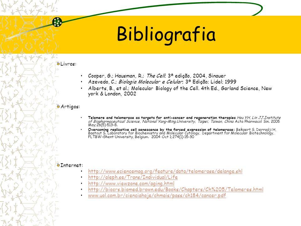 Bibliografia Livros: Cooper, G.; Hausman, R.; The Cell; 3ª edição, 2004, Sinauer. Azevedo, C.; Biologia Molecular e Celular; 3ª Edição; Lidel; 1999.